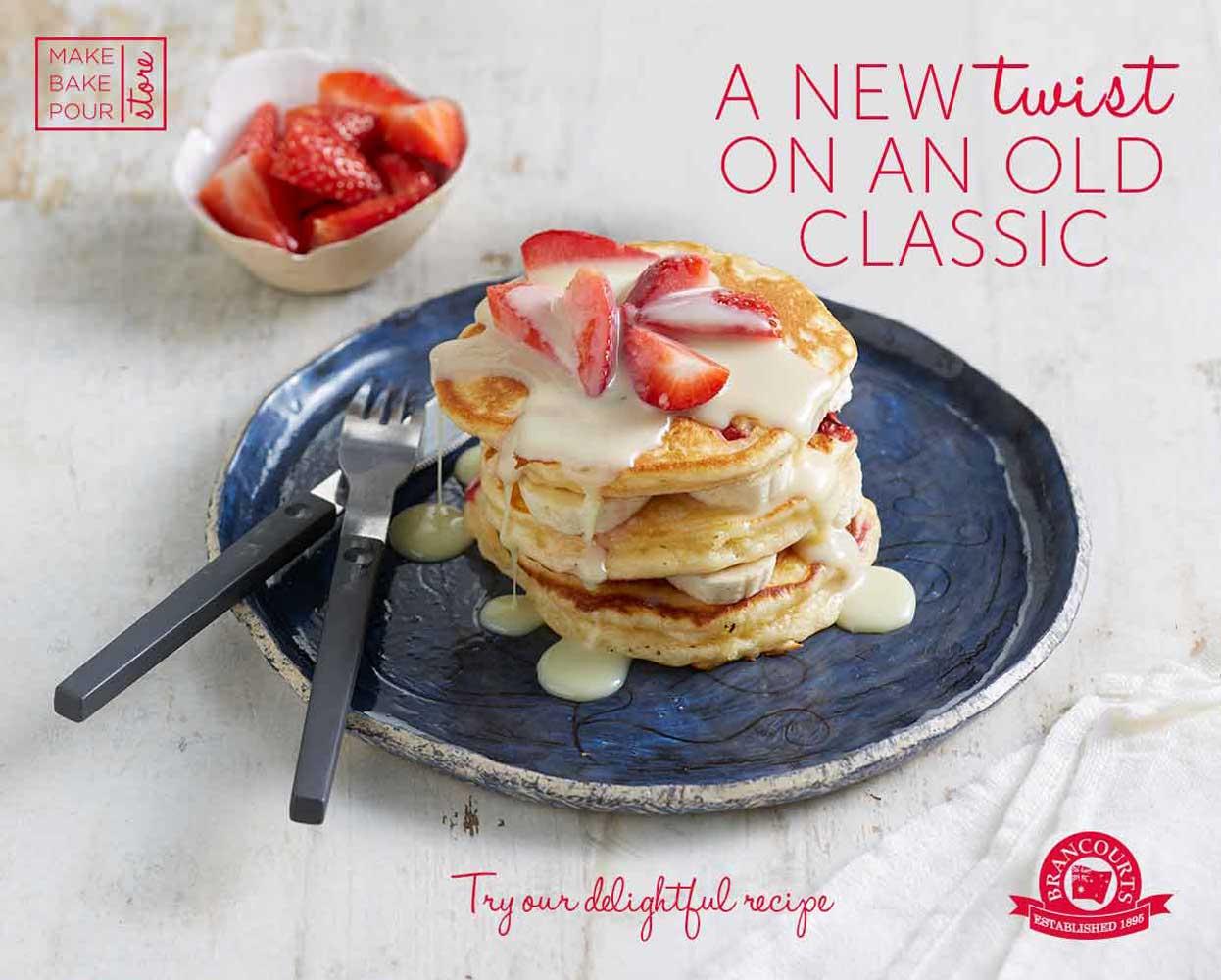 Brancourts retail campaign branding pancakes