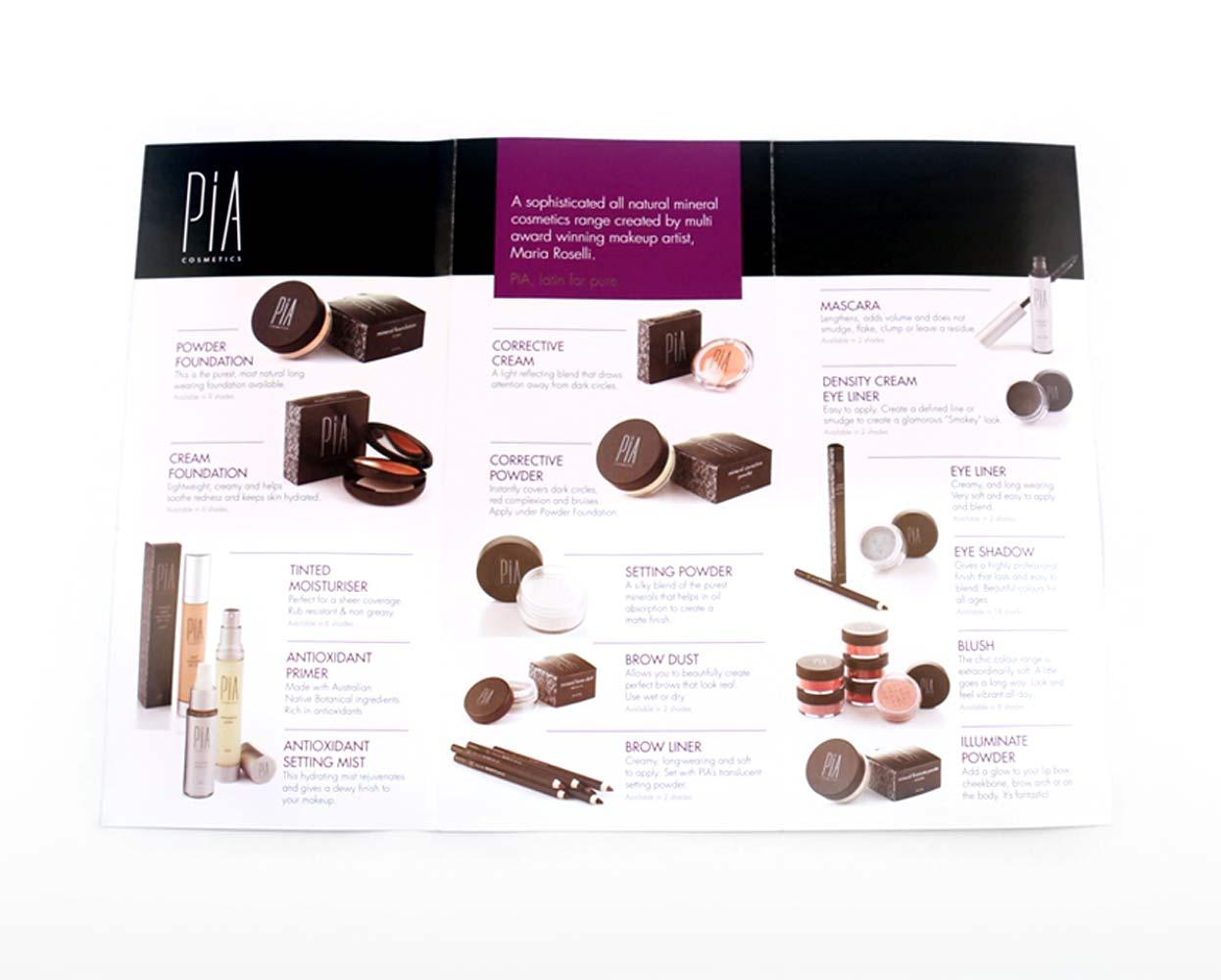 Pia Cosmetics Packaging Cosmetic Brochure Open