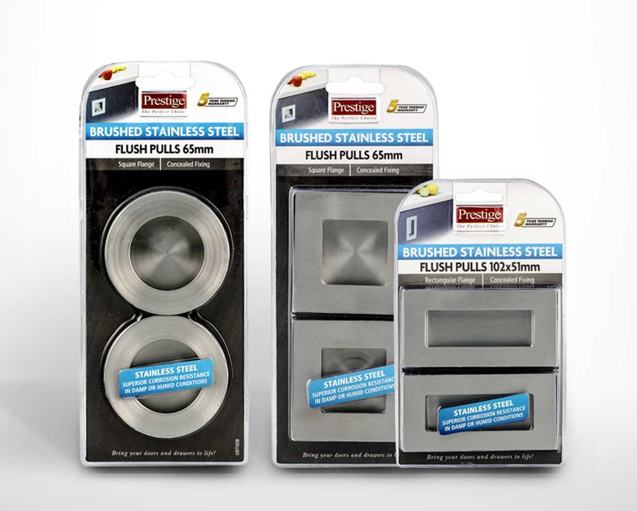 Prestige packaging flush pulls