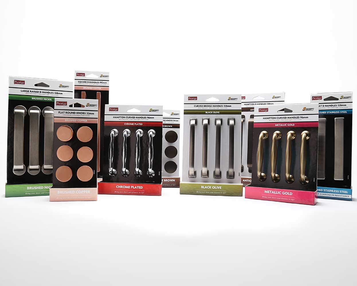 Prestige packaging knobs and handIes