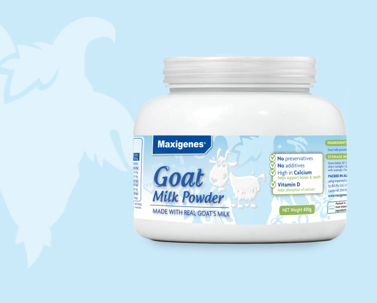 Maxigenes Goat Milk Powder Packaging