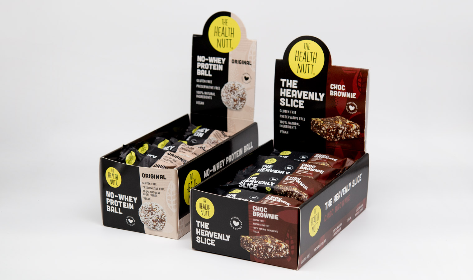 Flow wrap protein ball packaging in self-shipper boxes